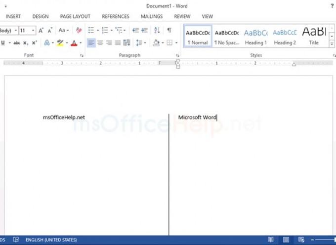 จัดกึ่งกลาง หน้าพร้อมเส้นแบ่งใน Microsoft Word